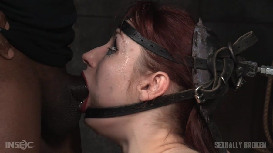 SexuallyBroken: (Violet Monroe) - Violet Monroe does drooling deepthroat on two cocks while firmly bound in the blowjob machine! [HD 720p / 847 MB] - BDSM / Domination