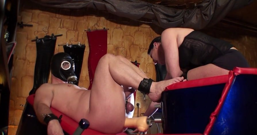 KinkyMistresses: (Mistresses) - Two Slaves and The Fucking Machine [HD 720p / 80 MB] - Femdom / Fisting