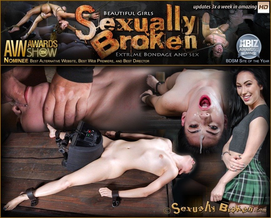 SexuallyBroken: (Aria Alexander) - Sexy beauty Aria Alexander shackled to sybian and throat trained by two hard cocks! [HD 720p / 712 MB] - BDSM / Rough Sex