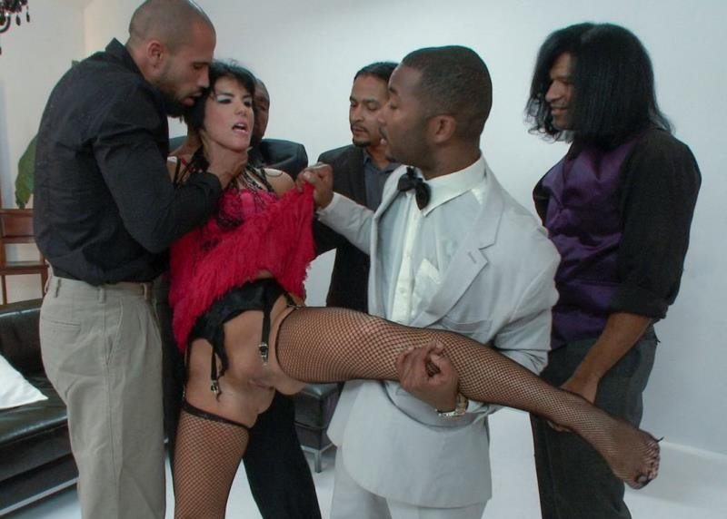 HardcoreGangBang: (Tee Reel, Rose Rhapsody) - The leading starlet gets taken down. First gang bang! [SD / 823 MB] - BDSM / Gangbang