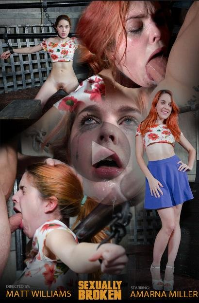 SexuallyBroken: (Amarna Miller) - Hot Redhead Amarna Miller is back, and suffers a brutal facefucking [HD 720p / 566 MB] - BDSM / Humiliation