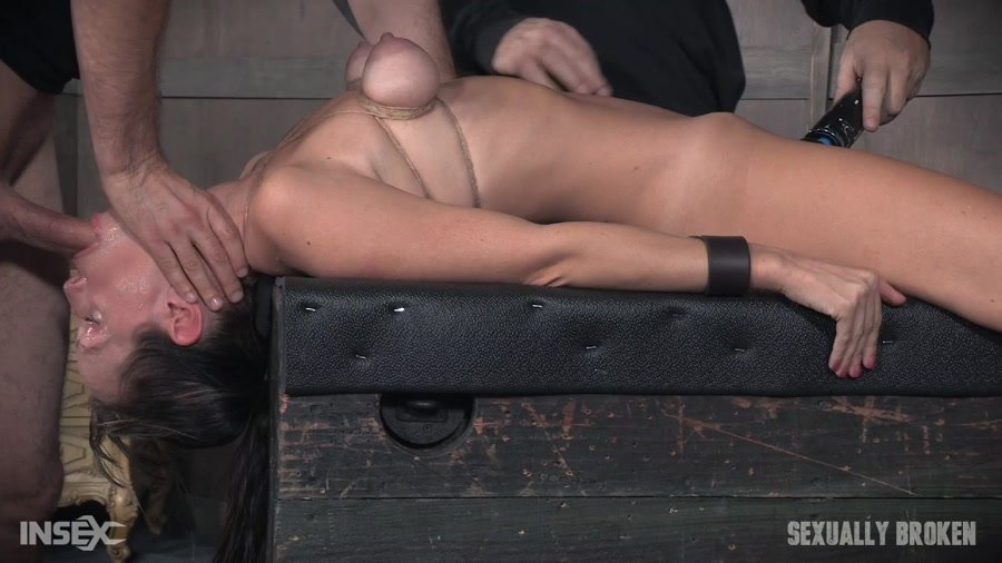Sexually Broken: (Alana Cruise) - Hot MILF has her tits brutally bound, her throat fucked upside down, and made to cum from huge cock! [HD 720p / 706 MB] - BDSM / Rough Sex