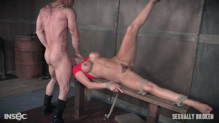 Sexually Broken: (Kenzie Taylor) - Severely bound down, sexy Kenzie Taylor is destroyed by huge hard cock. [HD 720p / 491 MB] - BDSM / Rough Sex