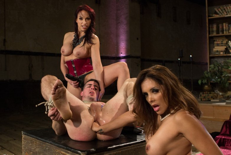 Kink: (Francesca Le, Nicki Hunter, Tyler Alexander) - Two FEMDOM MILFs destroy 21 year old slaveboy! [HD / 680 MB]