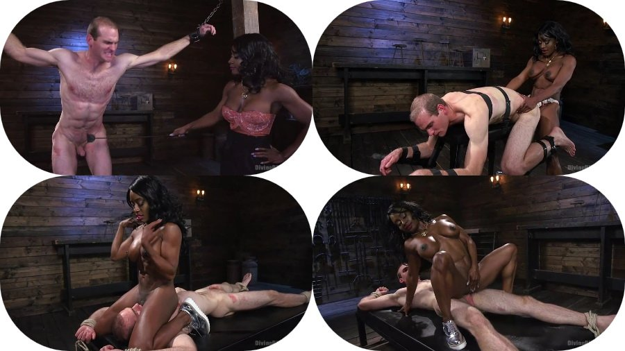 Kink.com: (Kelli Provocateur) - Ebony Dominatrix Kelli Provocateur Punishes Sub Man and Fucks His Ass! [SD / 716 MB] - Strap-on, Bondage