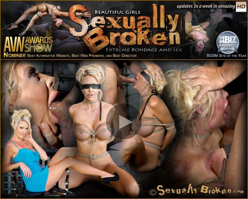SexuallyBroken.com: (Courtney Taylor, Matt Williams) - Big titted blonde Courtney Taylor bound blindfolded and facefucked, epic drooling deepthroating! [SD / 163 MB] - Bondage, Domination