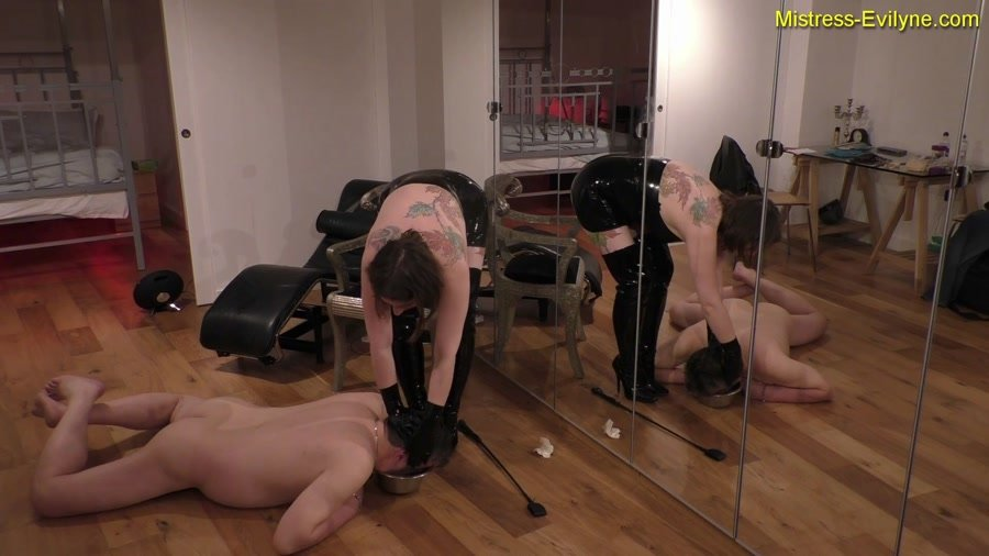 Latex Scat: (MistressEvilyne) - Feeding Time [FullHD 1080p] - Femdom, Domination