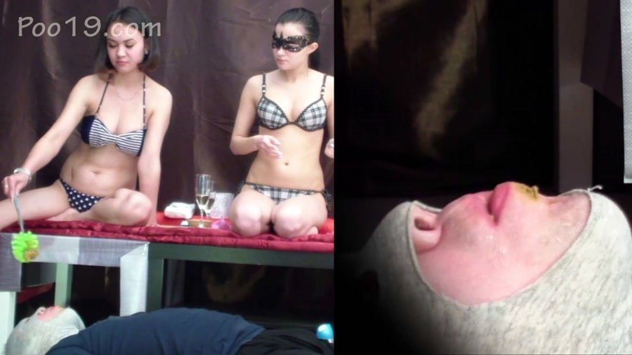 Double Femdom: (Smelly Milana) - 2 mistresses tore my mouth and crapped into it [FullHD 1080p] - Smearing, Femdom