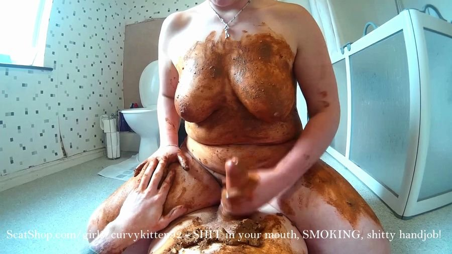Extreme Scat: (Curvykitten92) - SHIT in your mouth, SMOKING, shitty handjob [FullHD 1080p] - Blowjob, Boobs