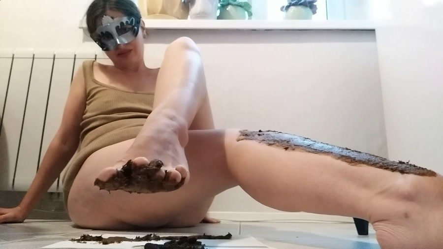 Foot Scat: (NastyGirl) - Pooping and smearing poo with foot [FullHD 1080p] - New scat, Scatting Girl