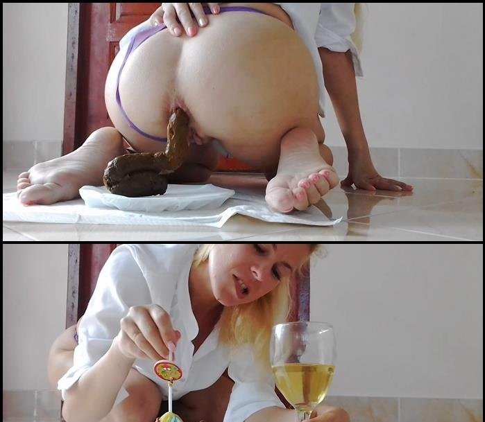 Big Pile: (MissAnja) - Plate Of Huge Shit, Glass of Drink, Dessert [HD 720p] - Scatology, Solo