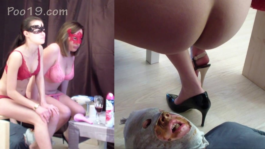 Humiliation Scat: (Smelly Milana) - 2 mistresses used a toilet slave [FullHD 1080p] - Femdom, Shitting